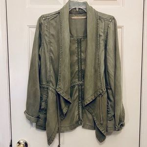 Max Jeans Green Open Front Utility Jacket